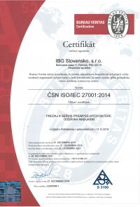 Certifikát 27001 do 2021